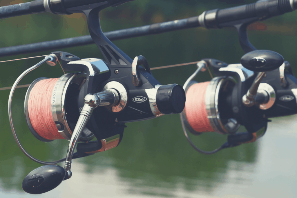 two spinning reels spooled with braid
